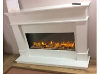 Solid marble contemporary electric fire place