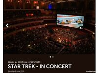 Star Trek tickets x 2 Royal Albert Hall