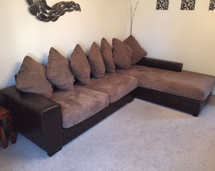 Brown L Shape Corner Sofa Couch Ex Land Of Leather Fabric Mix Suite Settee
