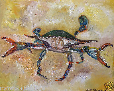 """Blue Crab 8""""x10"""" Limited Edition Oil Painting Print Signed Art by Artist Home De"""