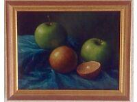 Still life oil painting of fruit.