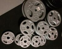 200 Lbs of Solid Steel Tri Grip Weight Plates with 1 inch Hole