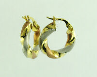 10k solid gold hoop earrings 3 tone Yellow White Red