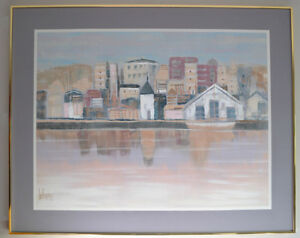 Large Lee Reynolds ORIGINAL Cityscape Oil Painting on Canvas