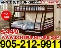 NO TAX ANNIE SINGLE OVER DOUBLE BUNK BED $449