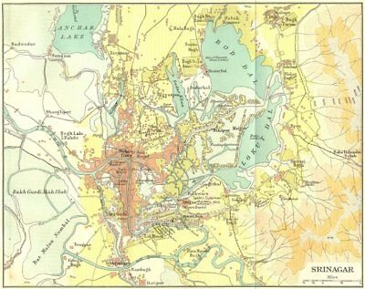 INDIA. Srinagar city & environs plan. Kashmir 1924 old vintage map chart