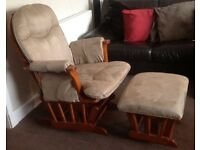Nursery glider chair with matching footstool excellent condition