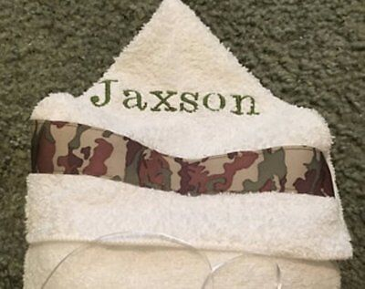 Personalized Hooded Bath Towel with Camo Ribbon- Sizes NB-3 and 4+  white or tan