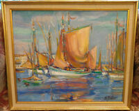 Oil Painting Tuna Boats/Peinture Thoniers Marguerite PORTIER