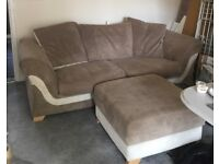 Sofa, arm chairs and foot stool