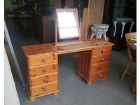 20% OFF ALL ITEMS SALE - Pine Dressing Table With 8 Drawers & Mirror - Can Deliver For £19