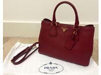 Prada Burgundy Tote Handbag (Authentic)