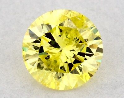 0.19 CT FANCY INTENSE YELLOW COLOR ROUND GIA CERT LOOSE DIAMOND TAXFREE Gift
