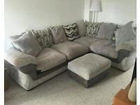 Harvey's grey pillowback lullabye left corner sofa with storage footstool