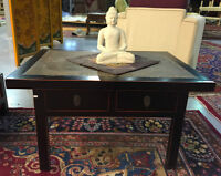 small asian style table in black with 2 small drawers