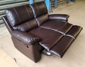 New/Unused 2 Seater Faux Leather Recliner Sofa - Brown.