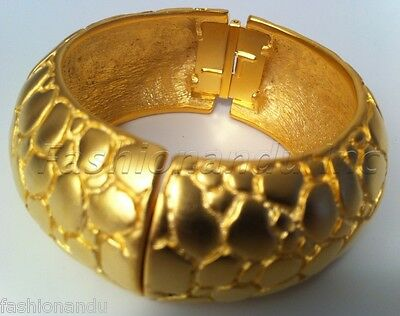 Kenneth Jay Lane Satin Gold Croc Print Bracelet Cuff
