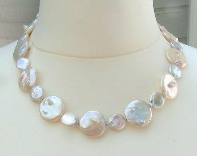 Süßwasserperlen Collier Perlen Kette Coin Perlen Collier Unikat Kette 4152