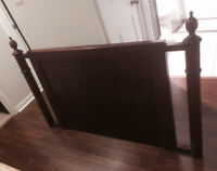 For Sale: Hardwood headboard, dark red brown, double/queen bed