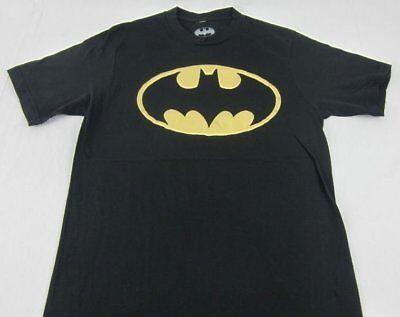 Dc Metallic-t-shirt (Mens Womens Batman Symbol Black and Gold Metallic T-Shirt DC Comics Size S L XL)