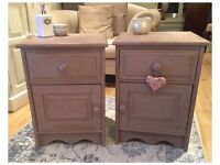 ANNIE SLOAN PAINTED SHABBY CHIC SOLID PINE BEDSIDE CABINETS