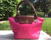 Longchamp Le Pliage small short handled tote in pink