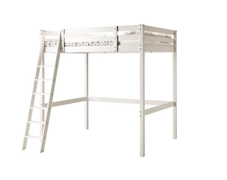 Stora Loft Bed Frame In White Stain Ikea