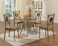 5 PC ROUND GLASS DINING SET $279/-NO TAX