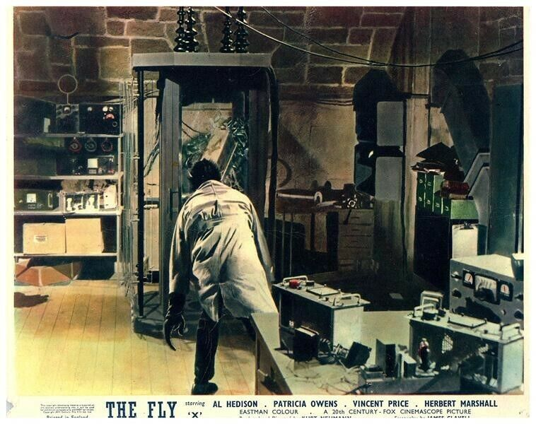 The Fly Original Lobby Card 1958 Horror Vincent Price in laboratory Classic rare