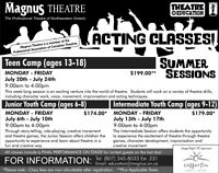 Summer Session Acting Camps at Magnus Theatre