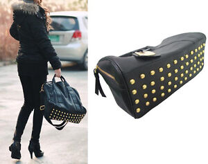 NEW Chic Celebrity Fashion Boutique Stud Studded Bottom Duffel Tote Handbag J