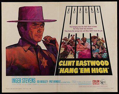 Hang Em High Half Sheet Movie Poster 22X28 Clint Eastwood Western Rare Kossin
