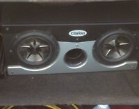 "2 clarion 10"" subs in clarion enclosure"