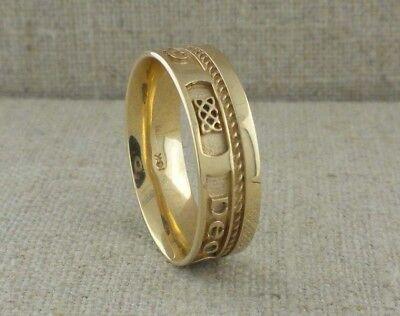 Love Forever Celtic Wedding Ring - IRISH 10K Yellow Gold GAELIC Love Forever Wedding Ring with Rail Edge Size 11.5