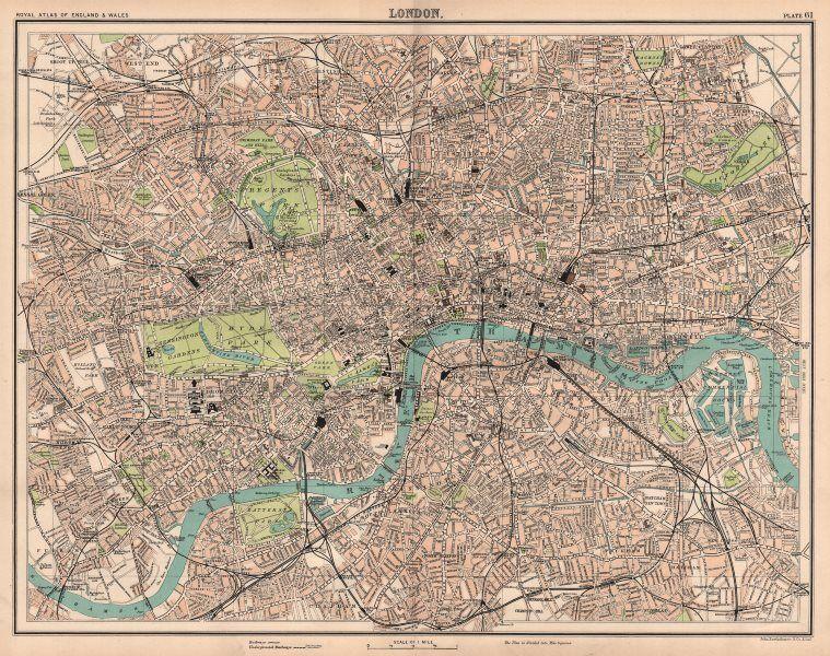 LONDON antique town city plan. BARTHOLOMEW 1898 old map chart