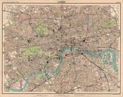 LONDON antique town city plan. BARTHOLOMEW 1898 old map chart