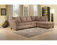 2 Piece Brown Suede Sectional 4 Sale