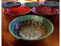 6 traditional multi coloured Moroccan bowls