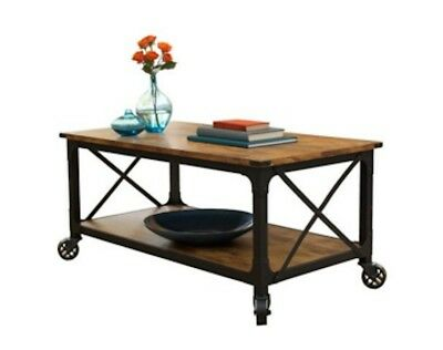 Rustic Coffee Table TV Stand Tradition Country Antique Black Pine Finish (Antique Finish Coffee Table)