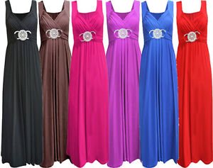 New-Laides-Plus-Size-Long-Evening-Maxi-Dress-Buckle-Waisted-Party-Dress