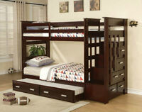Single Over Single Staircase Bunk Bed With Trundle And Drawers