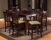 9 Piece Counter Height Solid Wood Table Set