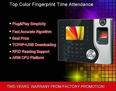 Color Display New Biometric Fingerprint Employee Pin Entry Time Clock