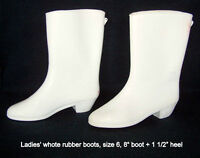 Rubber boots, size 6, white, flexible, dry