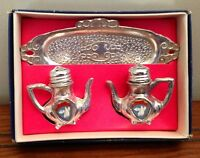 Antique Famous Silver Smiths Salt and Pepper N Tray Set