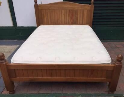 Excelent Queen hard wood fram+Sleep Maker Latex pillow top mattre