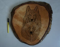 Superb 1998 Large Tree Ring Wolf Carving - Rustic LOOK!