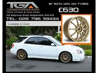 "18"" Rota GRA on Tyres for Honda Civic, Integra, Impreza STI 5x114.3"