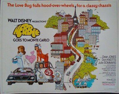 HERBIE GOES TO MONTE CARLO half sheet movie poster 22x28 LOVE BUG DISNEY 1977