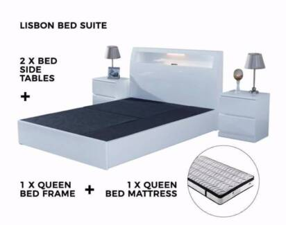 Lisbon 4 pcs Bed Suite Queen Size Bed High gloss